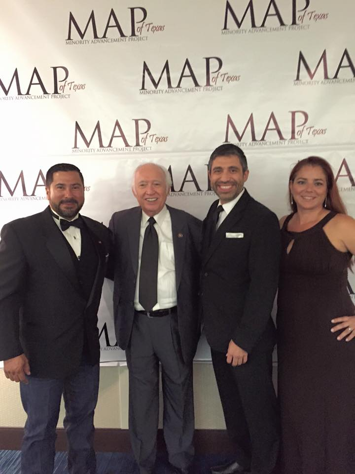 Ernie Gonzalez and Janice Gonzalez with Former U.S. Congressman Solomon P. Ortiz and Former State Representative Solomon P. Ortiz, Jr.