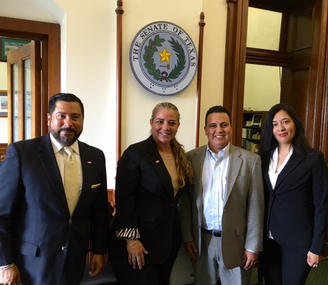 Ernie Gonzalez, Janice Gonzalez and Sylvia Soto with Senator Chuy Hinojosa Chief of Staff Luis Moreno