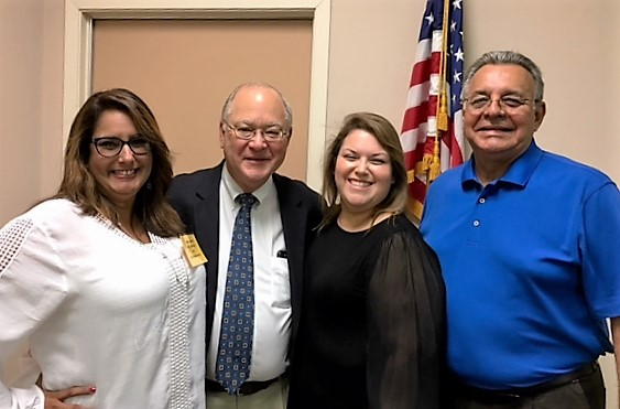 Freer City Administrator Ana A. Garcia and Freer Municipal Judge Rachel De Los Santos with Coastal Bend Council of Governments Executive Director John Buckner and COG Chairman Al Garcia