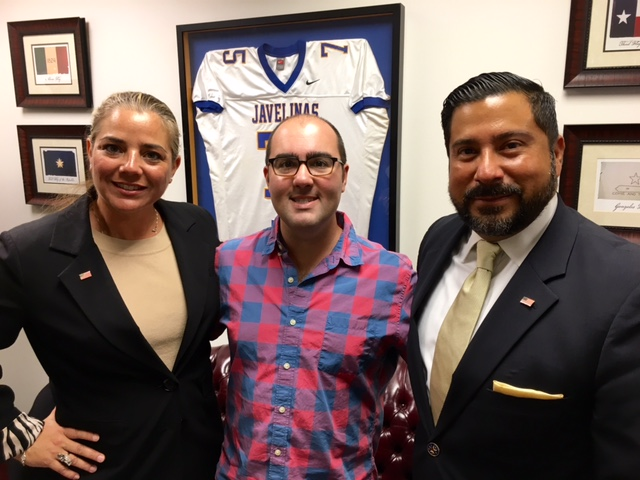 Janice Gonzalez and Ernie Gonzalez with State Representative JM Lozano Chief of Staff Matt Lamon